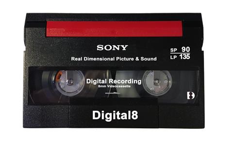 Vue de l'avant d'une cassette Digital 8