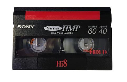 Vue de l'avant d'une cassette Hi8