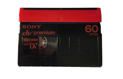 Vue de l'avant d'une cassette MiniDV
