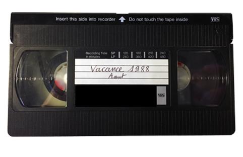 Vue de l'avant d'une cassette VHS