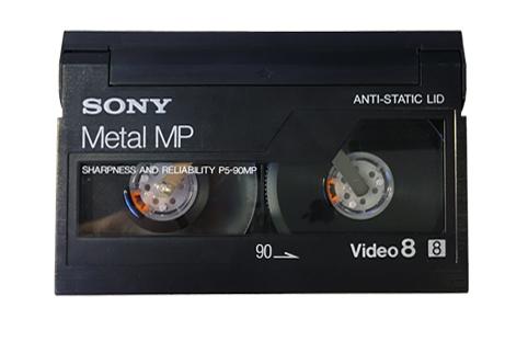 Vue de côté d'une cassette Vidéo 8