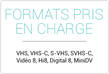 VHS, VHS-C, S-VHS, SVHS-C, Vidéo 8, Hi8, Digital 8, MiniDV